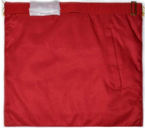 Scottish Master Mason Handmade Embroidery Apron with Rosettes - Red