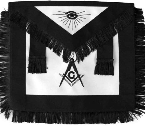 Masonic Master Mason Funeral Black With Fringe Hand Embroidered Apron