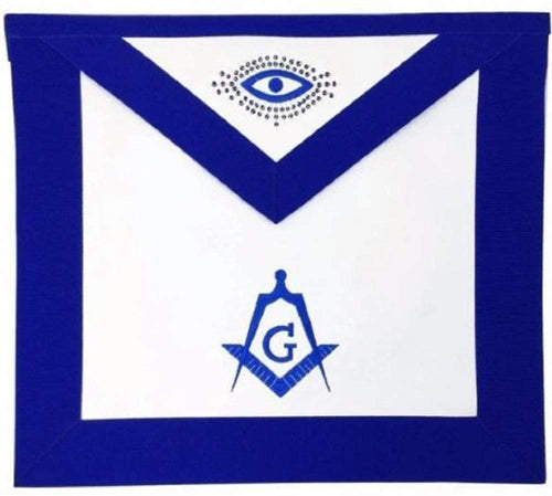 Masonic Blue Lodge Master Mason Apron Machine Embroidery Blue