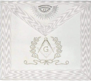 Hand Embroidered Masonic Master Mason Apron White