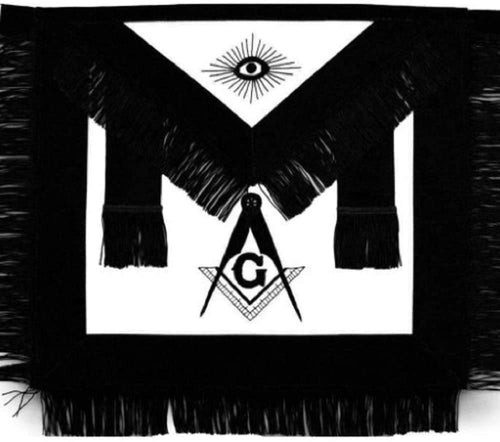 Masonic Master Mason Funeral Apron Black With Fringe Hand Embroidered