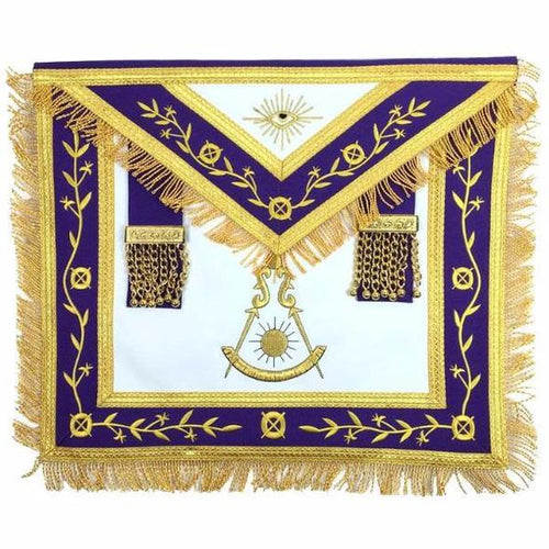 Masonic Blue Lodge Past Master Gold Machine Embroidery Freemason Purple Apron - Regalialodge