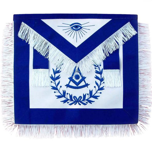 Masonic Past Master Blue With Wreath and Fringe Apron - Regalialodge