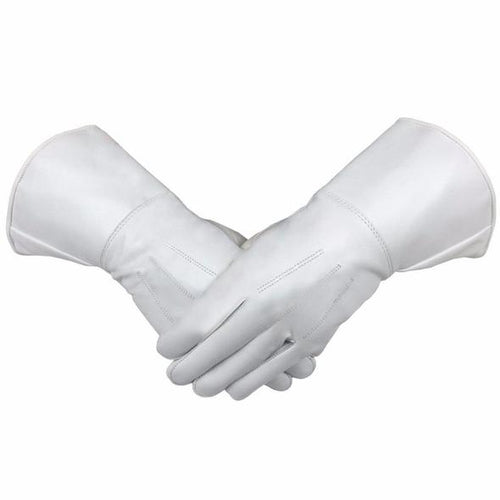 Masonic Piper Drummer Leather Gauntlets/Gloves White Soft Leather Knight Templar - Regalialodge