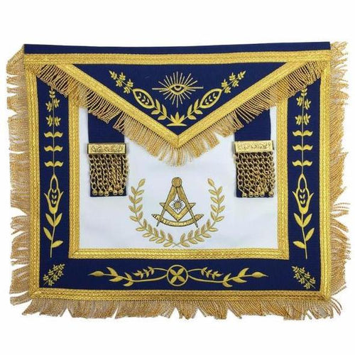 Masonic Blue Lodge Past Master Gold Machine Embroidery Freemasons Apron - Regalialodge