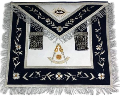 Masonic Past Master Apron Gold and Silver Hand Embroidery Apron