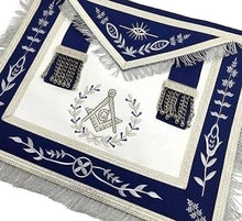Load image into Gallery viewer, Masonic Blue Lodge Master Mason Silver Machine Embroidery Freemasons Apron