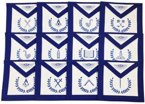 Masonic Blue Lodge Officers Machine Embroidered Apron - Set of 12