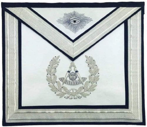 Masonic Past Master Silver Hand Embroidered Freemasons Apron