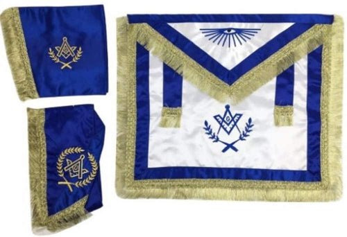 Master Mason Satin Apron,Collar gauntlets Set with Fringe Blue