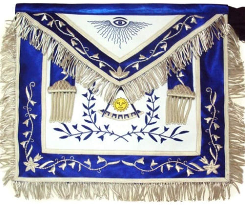 Masonic Past Master Apron Blue Silk Border Silver