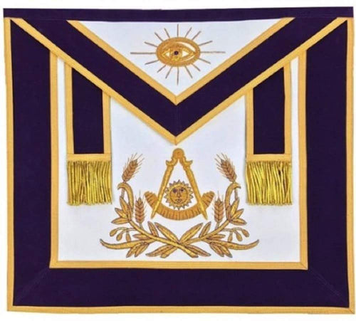Masonic Past Master Hand Embroidered Apron Gold Embroidery Purple Velvet