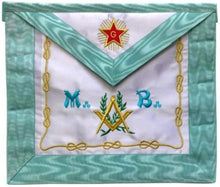 Load image into Gallery viewer, Master Mason French Rite / Modern Rite Star G Silk Apron - Sky Blue