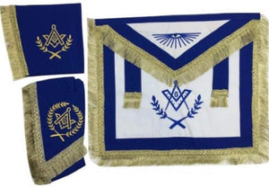 Master Mason Cardura Apron, Collar gauntlets Set with Fringe Blue