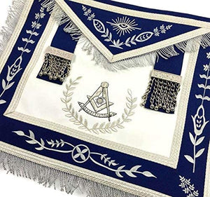 Masonic Blue Lodge Past Master Silver Machine Embroidery Freemasons Apron