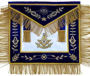 Masonic Past Master Apron Blue Hand Embroidered Bullion Vine Work
