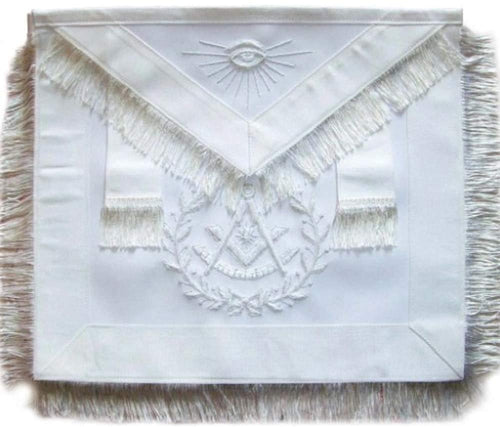 Masonic Past Master Apron All White With Wreath Fringe