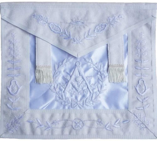 Masonic All White Past Master Apron With Wreath-Satin