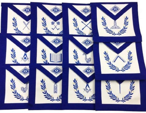 Masonic Blue Lodge Officers Aprons with wreath - Set of 12 Aprons
