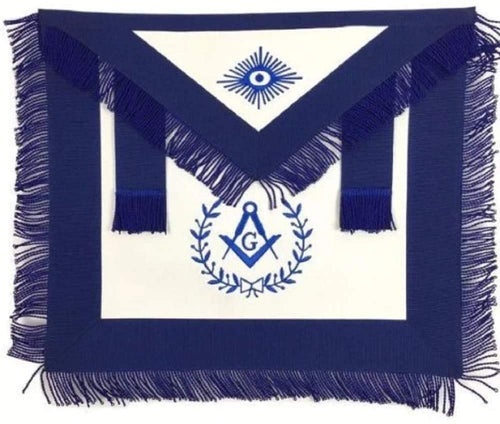 Masonic Blue Lodge Master Mason Apron Machine Embroidery with Fringe Navy