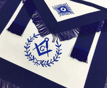 Load image into Gallery viewer, Masonic Blue Lodge Master Mason Apron Machine Embroidery with Fringe Navy