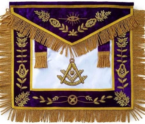 Masonic Past Master Apron Purple Hand Embroidered Bullion Vine Work