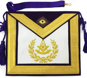Masonic Past Master Gold & Purple Hand Embroidered Apron