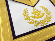 Load image into Gallery viewer, Masonic Past Master Gold & Purple Hand Embroidered Apron