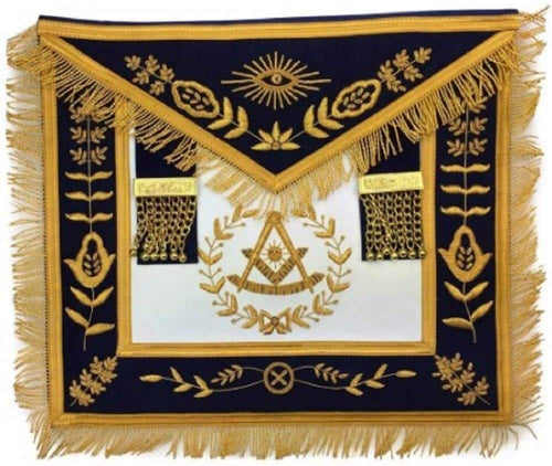 Masonic Blue Lodge Past Master Gold Handmade Embroidery Apron Navy