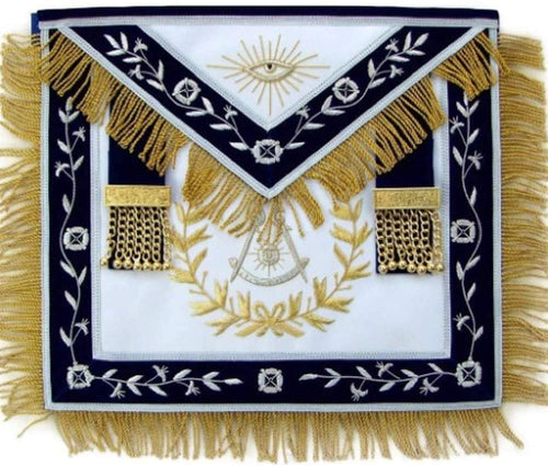 Masonic Blue Lodge Past Master Apron With Wreath Bullion Hand Embroidered…