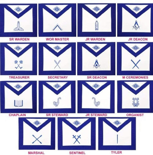 Masonic Blue Lodge Officers Aprons- Set of 15 Aprons