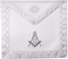Load image into Gallery viewer, Masonic Blue Lodge White Machine Embroidery Apron with square compass with G