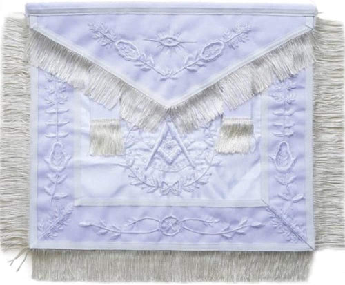 Masonic Past Master Apron All White With Fringe