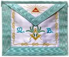 Load image into Gallery viewer, Master Mason French Rite/Modern Rite Pyramid Eye Silk Apron - Sky Blue