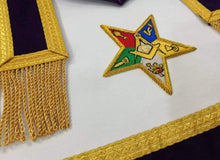 Load image into Gallery viewer, Hand Embroidered Masonic OES Patron Apron Golden Mylar Tassels