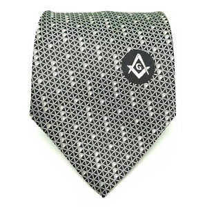 Masonic Regalia Black White Freemasons Tie - Regalialodge