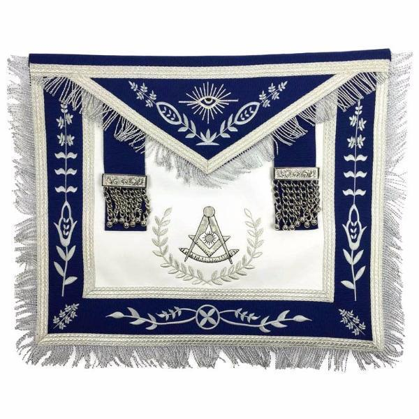 Masonic Blue Lodge Past Master Silver Machine Embroidery Freemasons Apron - Regalialodge