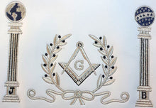 Load image into Gallery viewer, Navy Blue Apron Master Mason Square G & Pillars Freemasons Silver Fringe