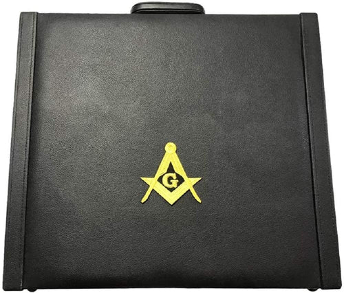 Masonic Regalia MM/WM and Provincial Apron Briefcase with Yellow Square Compass and G