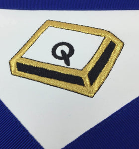 Masonic Blue Lodge 14th Degree Machine Embroidered Lambskin Apron