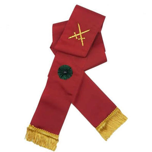 Knight Mason Hand Embroidered Sash Maroon - Regalialodge