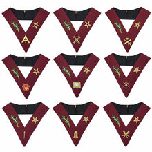 Load image into Gallery viewer, Masonic Blue Lodge 14th Degree Collars- Set of 9 collars Machine Embroidered - Regalialodge