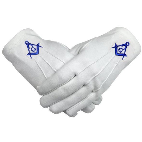 Masonic Cotton Gloves Blue Square and Compass G Machine Embroidery - Regalialodge