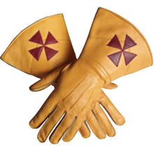 Load image into Gallery viewer, Knight Templar Yellow Color Gauntlets Red Cross Soft Leather Gloves - Regalialodge