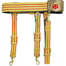 Load image into Gallery viewer, Knights Templar Past Grand Commander Red & Gold Sword Belt - Red Cross - Regalialodge