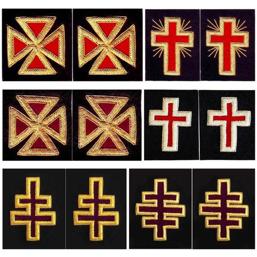 Knights Templar Sleeve Crosses - Bullion Embroidery - Regalialodge