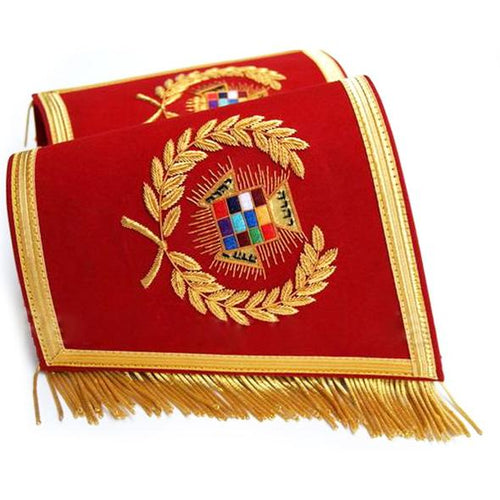 Masonic Gauntlets Cuffs - Past High Priest PHP Embroidered With Fringe - Regalialodge