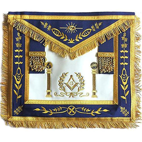 Navy Blue Apron Master Mason Square G & Pillars Freemasons Gold Fringe - Regalialodge
