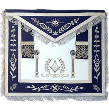 Load image into Gallery viewer, Navy Blue Apron Master Mason Square G & Pillars Freemasons Silver Fringe - Regalialodge