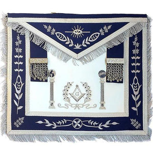 Navy Blue Apron Master Mason Square G & Pillars Freemasons Silver Fringe - Regalialodge